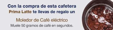 Con la compra de esta cafetera Prima Latte te llevas de regalo un Muele 50 gramos de café en segundos.Moledor de Café eléctrico cadence
