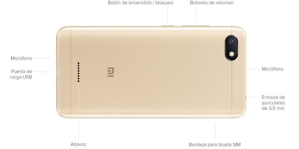 Donde se encuentran los botones en el celular Redmi 6A de 32 GB