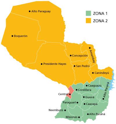 zonas de envio paraguay